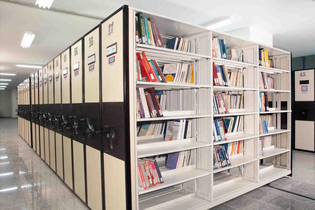 قفسه بایگانی ریلی کتابخانه ای چوبی MDF